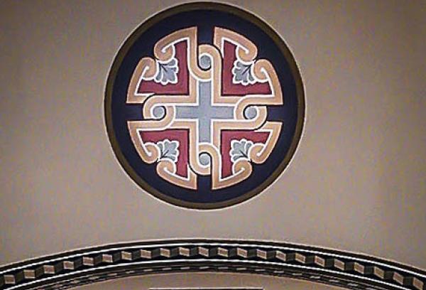 Крест (в круге) и орнамент