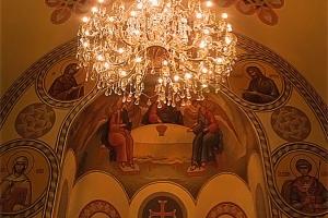 Живопись (композиция по центру храма  на арке над алтарем). Иконописная мастерская Палехский Образ
