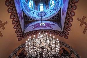 Орнамент в барабане между окон купола. Иконописная мастерская Палехский Образ